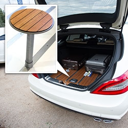 Yacht wood flooring in luxury auto trunk trend! Mercedes-Benz CLS Shooting Brake lines the trunk in American Cherry and uses the style to inspire their press conference space in a little Florence chapel!