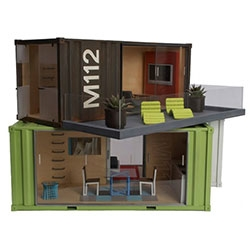 Model Shipping Containers/Doll houses - filled with modern designer furnishings - from the  art, tvs, plants, furniture and more!