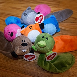 Target Boots & Barkley Fox, Beaver, Platypus Dog Toys with squeaky ball bodies and another squeaker in the tail. Adorable with their sad eyes that look extra dramatic during play ~ and one of the cheapest, longest lasting toys we've had yet.