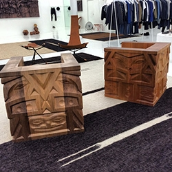 Stunning solid carved wooden chairs and geometric solids by Aleph Geddis found at Totokaelo in Seattle, WA.