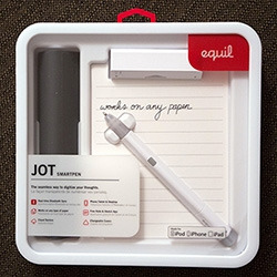 The Equil JOT Smartpen! Instant gratification for sketching and note taking that shows up right on your iphone/ipad. It's somewhere between a Wacom Inkling and Livescribe 3. Here's a look at the design details and packaging.