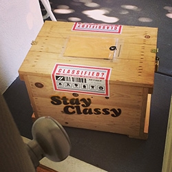 Stay Classy ~ says the mysterious crate that arrived on my doorstep... check out what was inside! A weeks supply of coffee, a USB sugar cube, and an invitation from Ron Burgundy to join his new game...