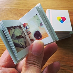 Printstagr.am TinyBooks! Teeny tiny magnetic hard bound books filled with your instagram photos. We made some to document Bucky's first year... and they magnetically shut and stick to the fridge!