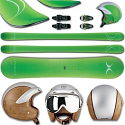 Indigo Snow has a line of snowboards, skis, helmets, goggles and more with a fusion of 3d snakeskin prints, leather, and wood.
