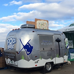 """Pop-Tarts Airstream Trailer! Made to look like a toaster complete with lever on the door and Pop-Tarts popping out the top ~ we found this at the """"Road to Sochi"""" Olympic Trials in Park City, UT."""