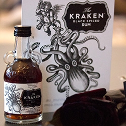 Kraken vs Cupid ~ for Valentine's Day, Londoners can gift inky black roses and a bottle of Kraken Rum from the Think Ink Florist!