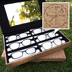 David Kind - A beautiful cork box of luxury eyeglasses arrive styled just for you. Meticulously designed frames crafted in Japan and Italy. And I just learned about the latest in lens tech - Trivex/High Definition for the clearest/lightest lenses.
