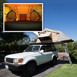 NOTFZJ80 Project: our ARB Simpson III Roof Top Tent. Cantilevering off our roof rack, you climb up the aluminum ladder to a nearly queen sized foam mattress and fun views. I'm still amazed it sets up in minutes.