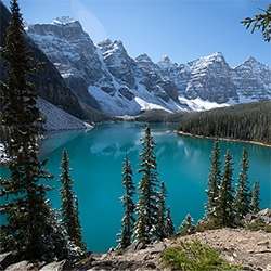 Moraine Lake in Banff National Park, Alberta, Canada. WOW. I still can't believe the blue color of the glacier lake water. And the chipmunks are so friendly they even come right up to dogs. Beyond breathtaking!!!