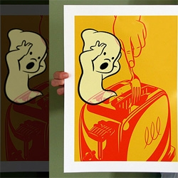 MORE prints from Coudal's Swap Meat that i'm craving for the wall space i don't have... a set of 4 ghosty prints that GLOW IN THE DARK! And portray some dark scenarios...