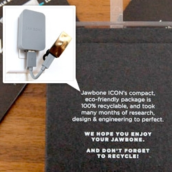 Jawbone ICON's packaging ~ there's something so lovely about how they actually gave credit to the effort of the packaging designers on the package! And it is truly incredible! See the details! Also the bendy cable...
