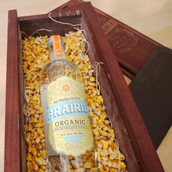 Prairie Vodka really sent the prairie with this product sample. In an intricately laser engraved wood box filled with corn and straw - cradling this deliciously smooth bottle of vodka...