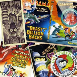 """A close up look at the great packaging of the new Futurama """"feature length epic"""" #2: The Beast with a Billion Backs... great retro sci-fi graphics!"""