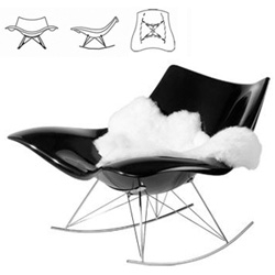 Stingray Rocker ~ sci-fi evolved descendant of eames rockers? loungier and comfier seeming... and oh so tempting! By Thomas Pedersen for Federica Furniture…