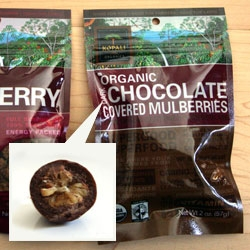 SUPERGOOD SUPERFOOD! Supermarket impulses, i couldn't resist the pretty typographic packaging of these dark chocolate covered dried mulberries... also interesting video about the biz side.