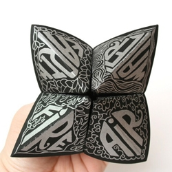 a beautifully crafted hand letterpressed promo shaped as an oragami fotune teller by Libby Egan.