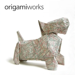Using sewing pattern paper, Elke Muche folded this origami Scottish Terrier.