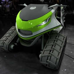 At the first glance, the Snowmobile appears to be a frowning, angry, snow scooter with an aggressive stance, and with an impressive presence.