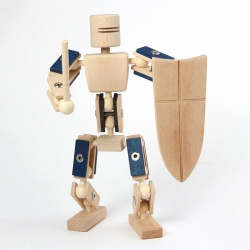 Posable Wooden Knight Toy by Helden aus Holz.