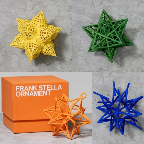 Frank Stella 3D printed star ornaments from the Whitney Museum.