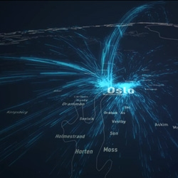 Deluge by Even Westvang is a beautiful data visualization of the movement of 300,000 Norwegians as they relocate within the country.