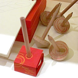 Fabriano's Piroetta Pencil is a wooden spinning top and working pencil in one designed by Denis Guidone!