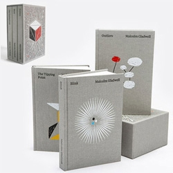 Malcom Gladwell Collected ~ A repacked box set of Blink, The Tipping Point, and Outliers designed by paul sahre