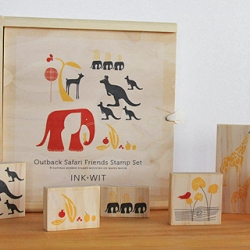 Outback Safari Friends Stamp Set from Ink and Wit. Set of 8 natural rubber stamps mounted on birch wood. Packaged in a natural wooden slide top box with custom twill ribbon pull.