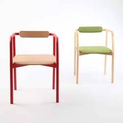 Ouverture chair, simple shaped beech or oak structure, in white, black, or red, with upholstered backrest and seat, available in fabric or leather. Designed by Paolo Cappello.