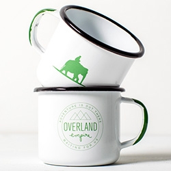 Overland Empire Enamel Mug - as more and more do custom enamelware lately, the colors and elephant logo on this one are especially fun!