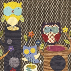 The little owls in Linda Solovic's paper collage illustrations are too cute!!