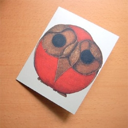 Hank Jr. Greeting Card - Holiday Matinee - what an adorably bizarre, sad owl! designed by Jocelyn Duke.