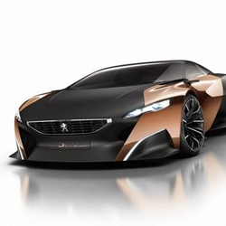 Peugeot's Onyx concept car will debut at Paris motor show later this month. The car is made from carbon fiber, copper, and even paper wood. It is powered by a  680hp diesel hybrid engine.
