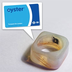 Oyster Ring - Dhani Sutanto puts the RFID chip and antenna from an Oyster Card into a resin ring.