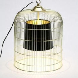 Great simple idea : a lamp in a cage (by a french furniture designer : Ascete)
