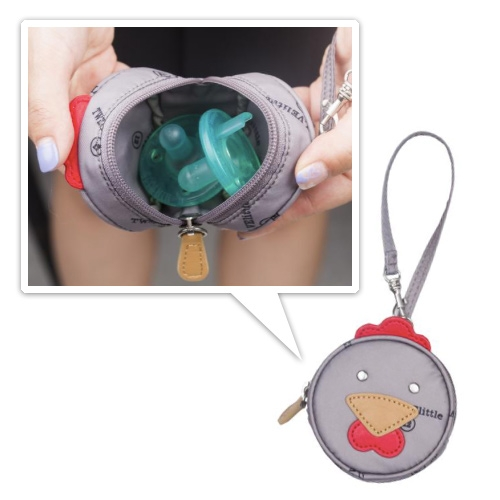 Twelve Little Rooster Paci Keeper - A functional bag charm/wristlet for parents. Water-resistant coated nylon lining is printed with logo. Holds two pacifiers.