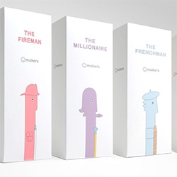Adorable packaging and branding for the Smile Makers vibrators - The Fireman, the Frenchman, the Millionaire, and the Tennis Coach.