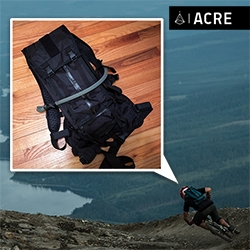 From Mission Workshop's special division, ACRE: The Hauser Weatherproof Hydration Pack 10L. Intriguing in images, but even better in person (and a perfect patch spot!) - see all the details up close!