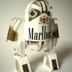 Amazing craft works made from packages of daily commodities such as kitkat, marlboro, and others.