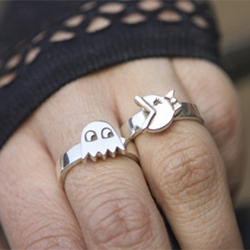 Ms. Pac-Man and Ghost rings by Tiny Armour.  Adorable!