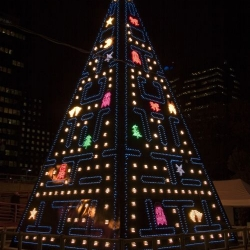 This LED animated Pac-Man Christmas tree is currently on display in downtown Madrid, Spain.