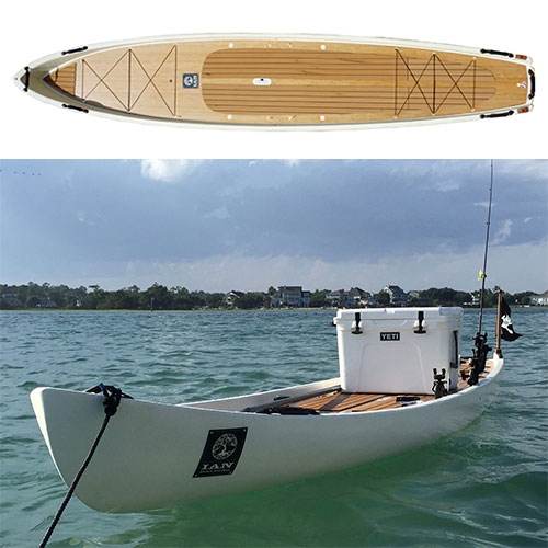 Ian Balding Paddle Bateau - A super stable and versatile platform used for stealth fishing the flats and marshes. Custom rigged with rod holders, cooler, and bungee gear tie downs. Part boat, part SUP.