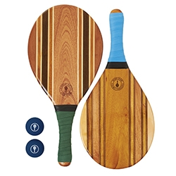 Frescobol Carioca - a brazillian take on that beach paddle tennis game... only with designer paddles handmade from wood offcuts finished with a special surfboard resin and a colourful neoprene grip.