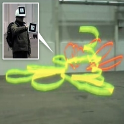 "Most involved Augmented Reality video i just found ~ Next Wall's ""Tagged In Motion"" Project - Free Graffiti!!! ~ tracking graffiti artist DAIM in virtual space where he paints with the tracking codes and sees through a headset/monitor"