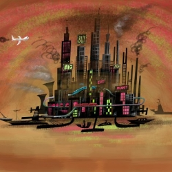Painting by Dan Krall, known from his work as background designers for Cartoon Networks.