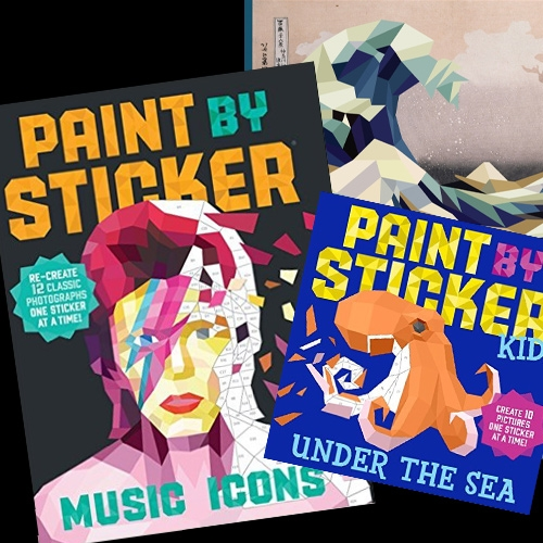 Workman Publishing Paint By Sticker Books - somewhere between coloring books for adults and sticker books for kids... are these? Intriguing faceted nature of the images and topics like music icons, vintage travel posters, sea creatures and more.