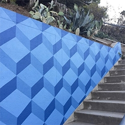 "Silver Lake's Swan Stairs ""Los Angeles, I'm Yours"" painted by Eve Dastmalchian,  LA-based muralist known as Evelyn Leigh. Fun, colorfully popping geometric mural!"