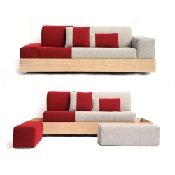 The palet sofa by Stone Designs is inspired by a wood pallet -- all of the sofa parts were designed to be contained within the pallet-inspired wood structure.