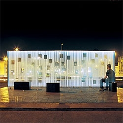 A glass and light memorial for chilean women by oficina de arquitectura. Gorgeous photos by Cristobal Palma.