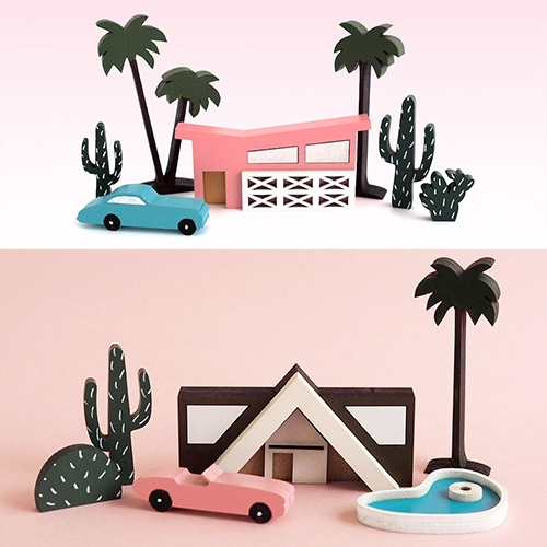 McKean Studio Palm Springs inspired wooden mini city sets. Adorable midcentury modern houses and the cars, trees, and pools to go with them.